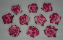 50 CERISE PINK Mulberry Paper Roses (only flower head)